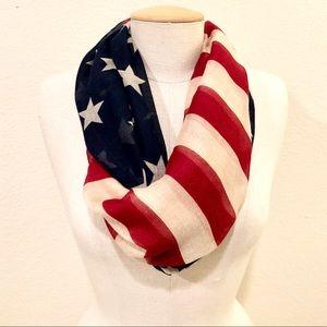 RED, WHITE & BLUE stars/stripes infinity scarf NWT